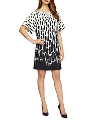 Tahari Arthur S. Levine Plus Abstract Print Kimono Sleeve Dress Ivory White