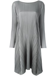 Issey Miyake Pleats Please By Asymmetric Hem Pleated Dress Grey