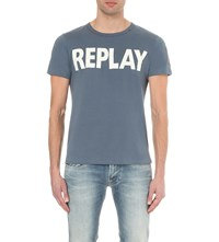 Replay Logo Print Cotton Jersey Sweatshirt Blue