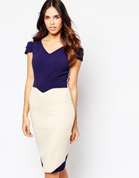 Hybrid Luxe Omega Dress With Cut Out Sleeve In Crepe Navy