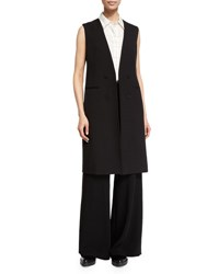 Theory Aggie Contour Open Front Wool Vest Black