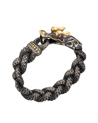 Men's Naga Braided Dragon Head Bracelet With Ruby John Hardy Red