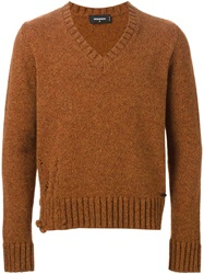 Dsquared2 V Neck Sweater Yellow And Orange