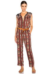 Etoile Isabel Marant Isabel Marant Etoile Tad Paisley Print Jumpsuit In Black Red Floral Stripes Abstract