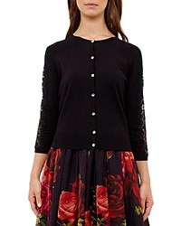 Ted Baker Ginahh Lace Inset Cardigan Black