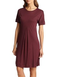Hanro Tribeca Short Sleeve Knit Gown Red