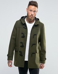 Asos Wool Mix Duffle Coat In Khaki Khaki Green