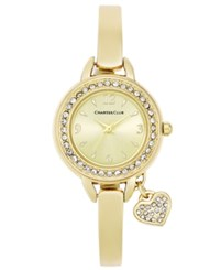 Charter Club Women's Heart Charm Gold Tone Bangle Bracelet Watch 26Mm Only At Macy's