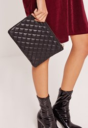 Missguided Quilted Zip Top Clutch Bag Black