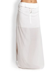 Vix Paula Hermanny Ruffled Drawstring Maxi Skirt White