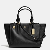 Coach Crosby Carryall In Crossgrain Leather Light Gold Black