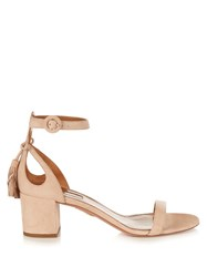 Aquazzura Pixie Tassel Back Suede Sandals Nude