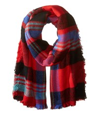 Roxy Heaven Of Curiosity Scarf Moon Plaid Combo Scarlet Scarves Red