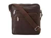 Kenneth Cole Reaction Columbian Leather 2.25 Single Gusset Top Zip Day Bag Dark Brown Messenger Bags