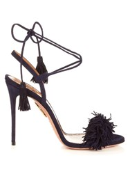 Aquazzura Wild Thing Suede Fringed Sandals Navy