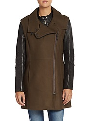 Andrew Marc New York Leather Sleeve Wool Blend Coat Dusty Olive