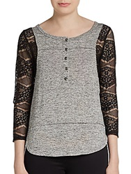 Scrapbook Lace Paneled Henley Top Heather Grey