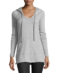 James Perse Long Sleeve Fleece Hoodie Sweatshirt Heather Gray
