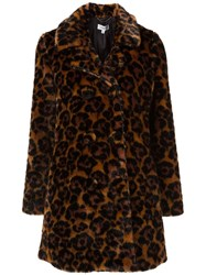 Coach Faux Fur 'Wild Beast' Coat Brown