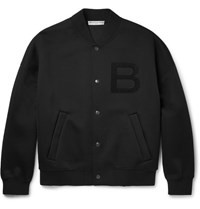 Balenciaga Appliqued Pique Bomber Jacket Black