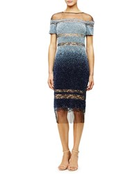 Pamella Roland Sheer Inset Ombre Sequined Dress Light Blue Navy