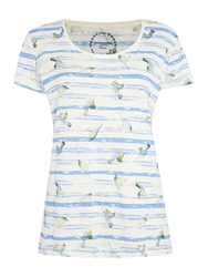 Dickins And Jones Birds And Stripe Print Tee Blue