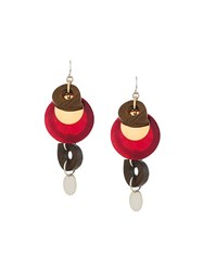 Marni Mixed Pendant Earrings Brown