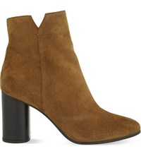 Maje Foly Suede Heeled Ankle Boots Camel