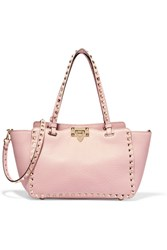 Valentino The Rockstud Small Textured Leather Trapeze Bag Baby Pink