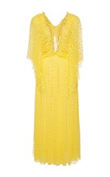 Rochas Plumetis Butterfly Sleeved Maxi Dress Yellow
