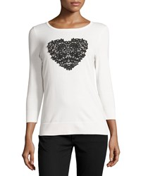 Neiman Marcus 3 4 Sleeve Lace Heart Sweater Ivory Black