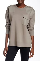Marc By Marc Jacobs Compact Wool Blend Contrast Panel Sweater Gray