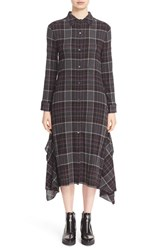 Public School Women's Long Sleeve Plaid Shirtdress Grey