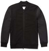 Reigning Champ Loopback Cotton Jersey And Shell Bomber Jacket Black