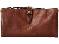 Frye Josie Wallet Dark Brown Washed Antique Pull Up Wallet Handbags