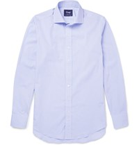 Drakes Spread Collar Striped Cotton Shirt Blue