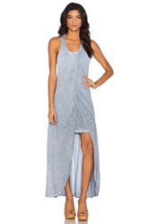 Stateside Oil Wash Supima Slub Jersey Scoop Neck Racerback Maxi Dress Blue