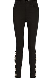 Anthony Vaccarello Embellished High Rise Skinny Jeans
