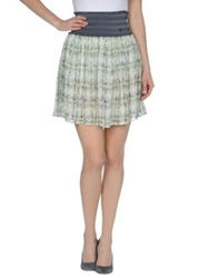 Galliano Mini Skirts Light Green