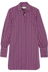 Caroline Constas Boyfriend Cotton Jacquard Shirt Dress Purple