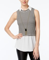 Amy Byer Bcx Juniors' Striped Layered Look Top With Necklace Black