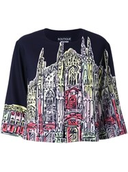 Boutique Moschino Church Print Cropped Jacket Black