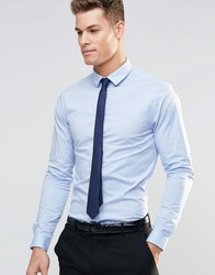 Asos Skinny Shirt In Blue With Long Sleeves And Navy Tie Set Blue