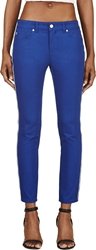 Alexander Mcqueen Royal Blue Twill Zip Fit Jeans