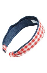 L. Erickson Two Tone Scarf Headband Red Wide Gingham Red Denim