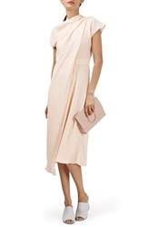Topshop Women's Origami Drape Neck Midi Dress Nude
