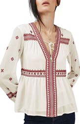 Topshop Women's Embroidered Peasant Top