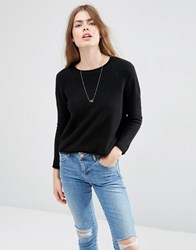 Asos Cropped Jumper With Rolled Edge Detail In Fluffy Yarn Black
