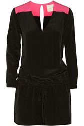 Mason By Michelle Mason Color Block Silk Playsuit Black
