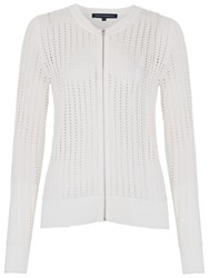 French Connection Pointelle Zip Through Cardigan Summer White